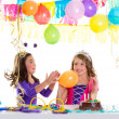 Children happy birthday party girls with balloons — Stock Photo #18421653