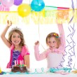 Children happy birthday party girls with balloons - Foto Stock