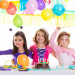 Children happy birthday party girls group — Stock Photo