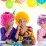 Children happy birthday party eating chocolate cake — Stock Photo #18422605
