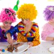 Children happy birthday party eating chocolate cake — Stock Photo