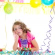 Child kid crown princess in birthday party — Stock Photo