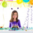 Asian child kid girl in birthday party hungry tonge — Stock Photo #18427029
