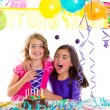 Children happy hug in birthday party laughing — Stock Photo