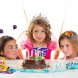 Children kid girls birthday party look excited chocolate cake — Stock Photo #18427625