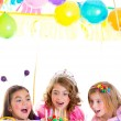 Children kid girls birthday party look excited chocolate cake — Stock Photo