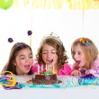 Children kid girls birthday party look excited chocolate cake — Stock Photo #18427781
