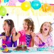 Children kid in birthday party dancing happy laughing — Stock Photo #18427885