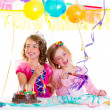 Children kid in birthday party dancing happy laughing - Stock Photo