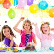 Children kid in birthday party dancing happy laughing — Stock Photo #18428189
