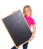 Child kid happy girl holding blank blackboard copyspace — Stock Photo
