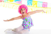 Child kid girl with party clown pink wig funny expression — Stock Photo