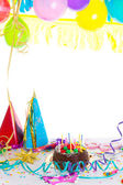 Children birthday party with chocolate cake — Foto Stock