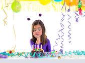 Asian child sad bored kid girl in birthday party — Stock Photo