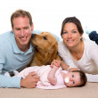 Baby mother and father happy family and dog — Stock Photo #18430075