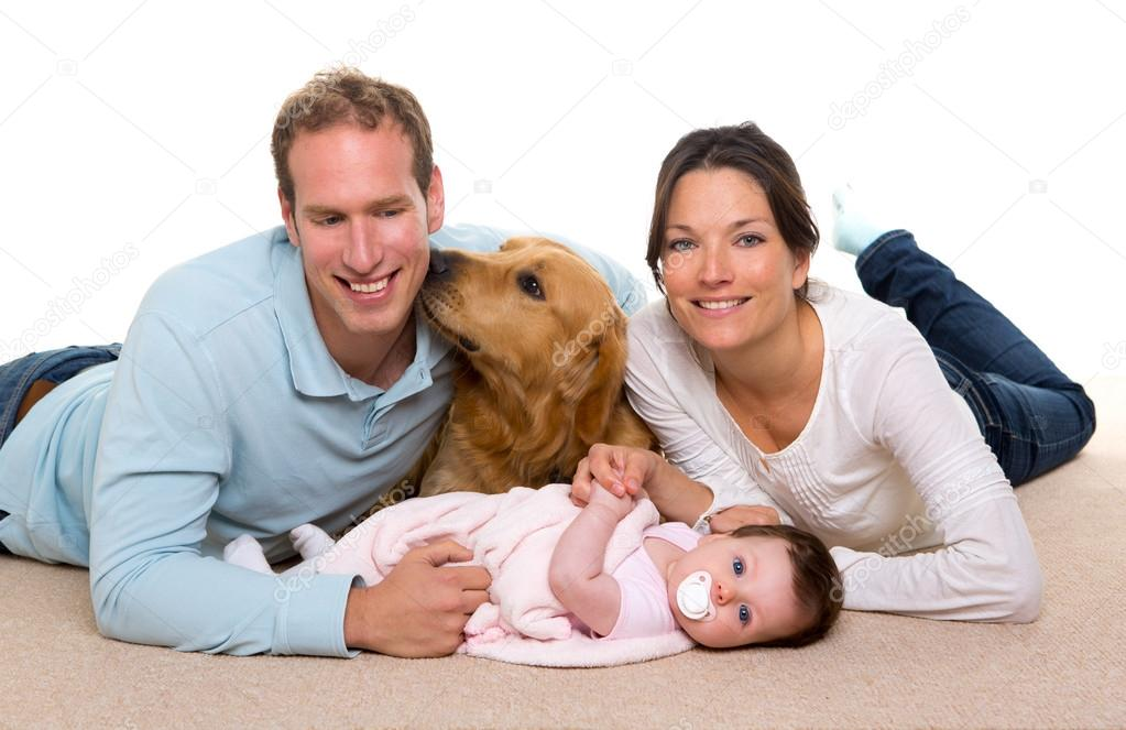 Baby Mother And Father Happy Family Dog Stock Photo