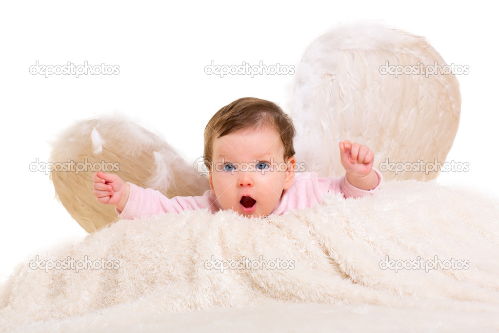 Baby girl angel with feather white wings on white fur and open arms — Stock Photo #18432511