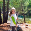 Explorer blond kid girl sith stick and winter white fur — Stock Photo #19535965