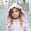 Child girl tourist walking in traditional Spain village — Stock Photo