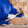 Masonry mason stonecutter man with hammer working — Stock Photo