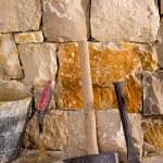 Hammer tools of stonecutter masonry work — Stock Photo #19539441