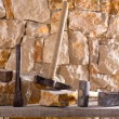 Hammer tools of stonecutter masonry work — Stock Photo #19539931