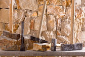 Hammer tools of stonecutter masonry work — Stock Photo