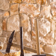 Hammer tools of stonecutter masonry work — Stock Photo #19540545