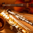 Classic music Sax tenor saxophone violin and clarinet vintage - Stock Photo