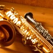 Stock Photo: Classic music Sax tenor saxophone and clarinet vintage