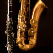 Classic music Sax tenor saxophone and clarinet in black — Stock Photo #19542427