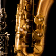 Classic music Sax tenor saxophone and clarinet in black — Stock Photo #19542465