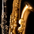 Classic music Sax tenor saxophone and clarinet in black — Stock Photo #19542599