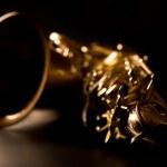 Tenor sax golden saxophone macro selective focus — Stock Photo #19542629
