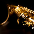 Tenor sax golden saxophone macro selective focus — Stock Photo #19542651