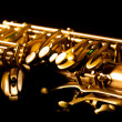 Tenor sax golden saxophone macro selective focus — Stock Photo #19542673