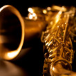 Tenor sax golden saxophone macro selective focus — Stock Photo #19542823