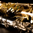 Classic music Sax tenor saxophone and clarinet in black - Stockfoto