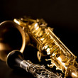 Classic music Sax tenor saxophone and clarinet in black — Stock Photo #19542899