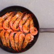 Grilled shrimp seafood in round pan - Stock Photo