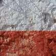 Stock Photo: Aged whitewashed wall with red grunge paint