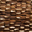 Threshing board of aged wood and stones texture - Stock Photo