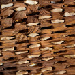 Threshing board of aged wood and stones texture - Foto Stock