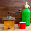 Stock Photo: Retro old coffee grinder and sodbottle vintage
