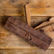 Carpenter vintage wood planer tool planer rusted — Stock Photo
