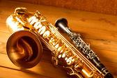 Classic music Sax tenor saxophone and clarinet vintage — Stock Photo
