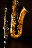 Classic music Sax tenor saxophone and clarinet in black — Stock Photo