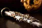 Classic music Sax tenor saxophone and clarinet in black — Stock Photo