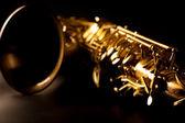 Enfoque-selectivo macro dorado saxofón tenor sax — Foto de Stock