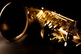 Tenor sax golden saxophone macro selective focus — Stock Photo